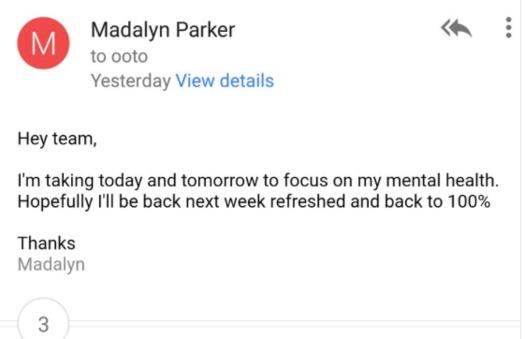 Mental health advocates have applauded Parker for explicitly stating her mental-health needs. (via Twitter)
