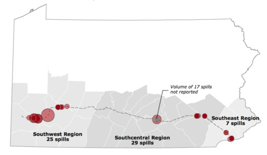 Environmental groups have documented 61 spills in two months associated with construction of the Mariner East 2 pipeline project. (Clean Air Council)