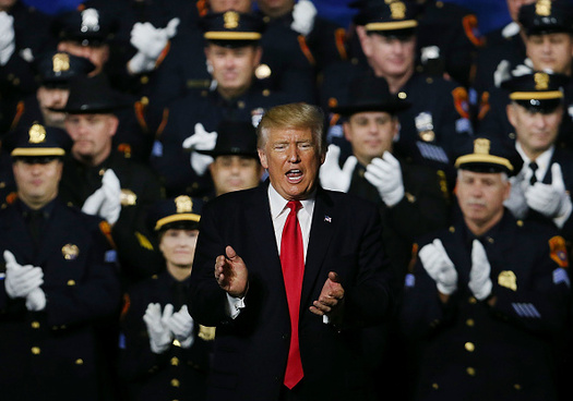 "President Trump veered off in a speech Friday about the criminal gang MS-13 to tell police not to be ""too nice"" with suspects. (Spencer Platt/Getty Images)"