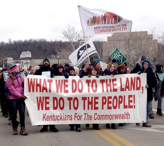 A citizens group in Kentucky is setting up a training academy to spread grassroots activism, such as this march, across the Bluegrass State. (KFTC)