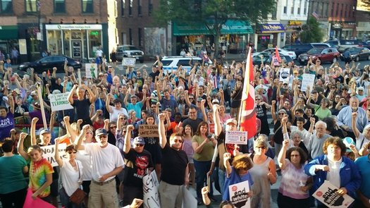 About 500 people rallied in front of North Hampton City Hall on Sunday night, against white nationalists and the violence over the weekend in Charlottesville, Va. (Jobs With Justice)