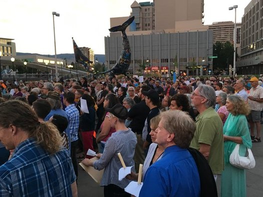 Rallies took place in dozens of cities over the past two days, including last night in Reno and Sunday in Las Vegas, to promote peace and condemn racism.(Laynette Evans)