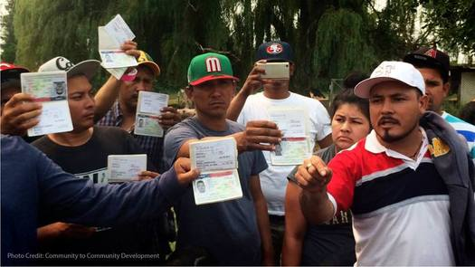 Farmworkers on Sarbanand Farms say they discovered their work visas expired a month ago. (Community to Community Development)