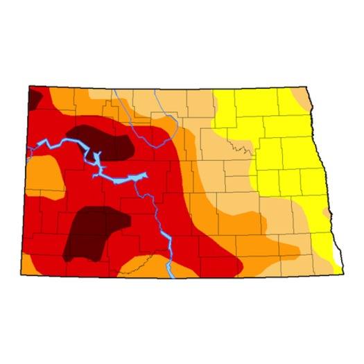 Nearly 50 percent of North Dakota is experiencing extreme or exceptional drought, the two highest stages of drought. (National Drought Mitigation Center)