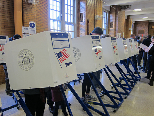 With the September elections just around the corner, the League of Women Voters is  asking a court to temporarily prevent the state's new voter law from taking effect. (J. Shlabotnik/Flckr)