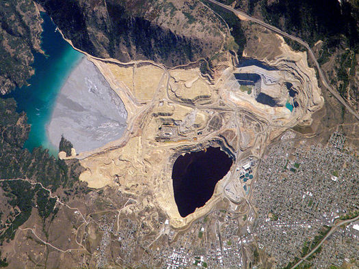The Berkeley Pit near Butte, Mont., has become one of the largest EPA Superfund sites in the country. (NASA/Wikimedia Commons)