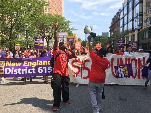 It was no holiday for Boston fast-food workers, many of whom walked off their jobs to show their support for higher wages and union protections. (SEIU)