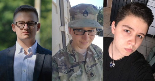 "Ryan Karnoski, S/Sgt. Cathrine ""Katie"" Schmid and Drew Layne are the plaintiffs in the suit. (Lambda Legal)"