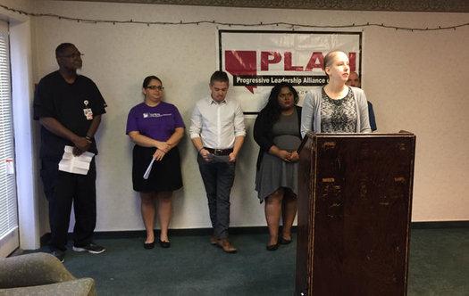 Cancer survivor Laura Packard speaks to reporters on Wednesday in Las Vegas.(Juan Ortega)