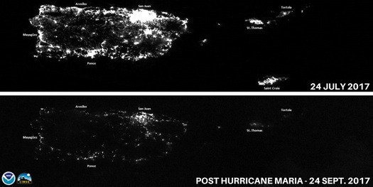 Critics charge that a failure to staff federal agencies is hampering the response to hurricane damage in Puerto Rico, including an all-but-demolished electrical grid. (NOAA)