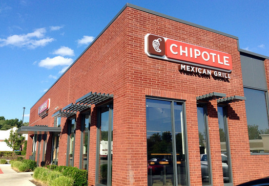"Chipotle is one of only two national chains that earned an ""A"" in terms of its use of foods treated with antibiotics. Mike Mozart/flickr)"