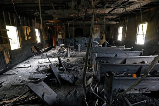 Incidents such as this fire in a church in Mississippi, where arson is suspected, are believed to be on the rise in the United States. (ProPublica)