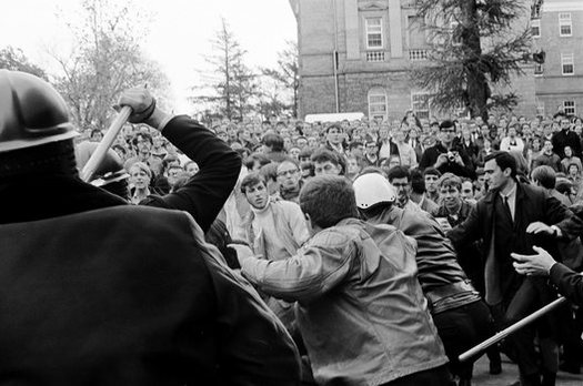 The Dow protests on the University of Wisconsin-Madison campus on Oct. 18, 1967, marked the first time in the nation's history that an anti-Vietnam War protest on a major U.S. campus turned violent. (John Wolf, UW-Madison)