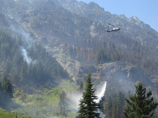 Crews battle the Diamond Creek Fire, one of the biggest fires this season in Washington state. (Forest Service/Flickr)