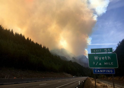The Eagle Creek Fire in the Columbia Gorge is one of the many blazes the country experienced in this very active fire season. (Oregon Dept. of Transportation/Flickr)