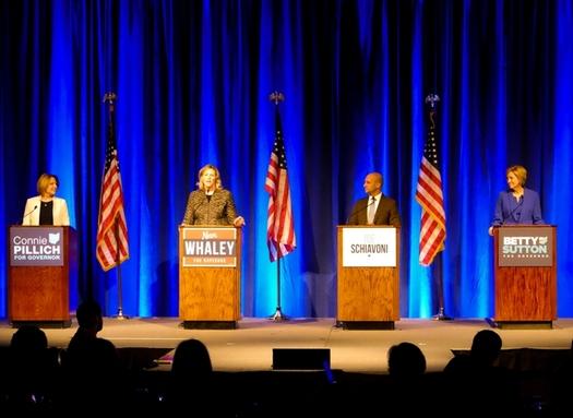 Former state Rep. Connie Pillich, Dayton Mayor Nan Whaley, state Sen. Joe Schiavoni and former U.S. Rep. Betty Sutton participate Sunday in a Democratic gubernatorial debate. (Andrew Keiper)