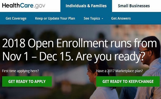 A 45-day open-enrollment period begins today for people seeking 2018 health-insurance coverage through the Affordable Care Act. (ACA screenshot)