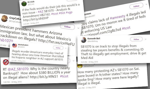 "Arizona's Senate Bill 1070, also known as the ""show me your papers"" law, passed in 2010 and inspired anger against immigrants and Latinos on Twitter. (University of Washington)"
