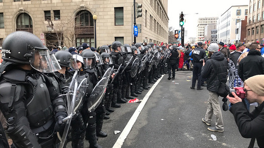 More than 200 people, including half a dozen journalists, were penned in and arrested during the Inauguration Day protests in Washington, D.C. (Anthony Crider/Flickr)