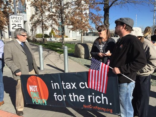 Not One Penny rallies, such as this one in Reno, are blanketing the country this week ahead of the Senate tax plan vote. (Matthew Flonken/Organizing For America)