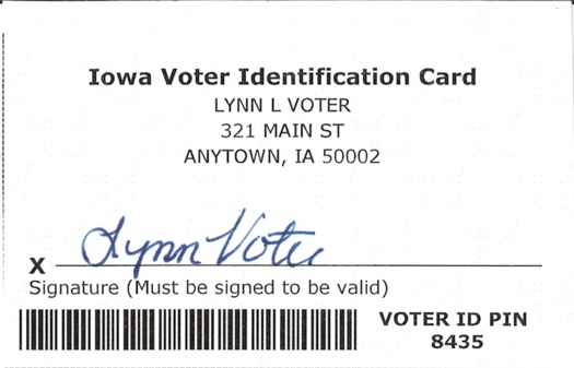 New voter ID cards are being mailed this week to 123,000 Iowans who don't have drivers licenses or other official ID. (Iowa Secretary of State)