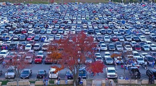 Drivers should watch their speed while in parking lots during the holiday shopping season. (Dean Hochman/Flickr)