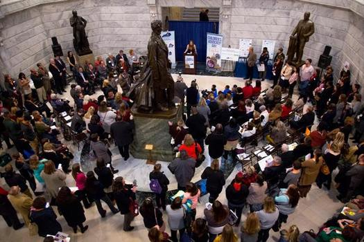 Kentucky legislators gathered with kids on Thursday to celebrate youth advocacy. (Kentucky Advocates for Youth)