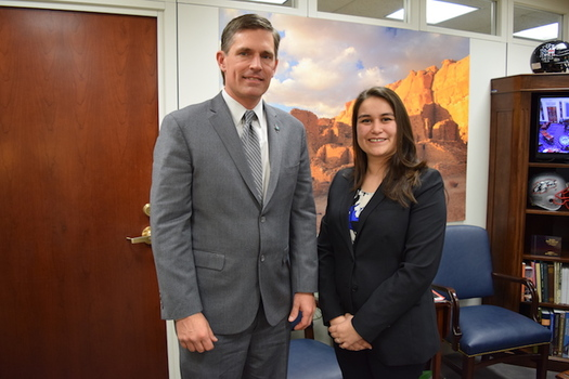 Dreamer Ivonne Orozco-Acosta and U.S. Sen. Martin Heinrich, D-N.M., listened to President Donald Trump's remarks on immigrants while attending the State of the Union address. (heinrich.senate.gov)