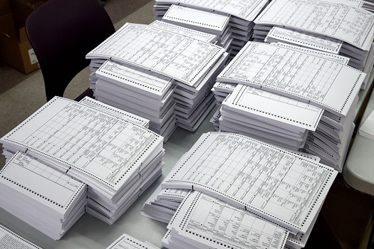 Security experts recommend that until electronic voting machines can be made safe, states should use paper ballots for all elections. (Angerer/GettyImages)