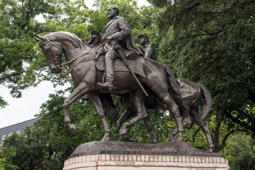 This statue of Confederate Gen. Robert E. Lee in a Dallas park is part of the state�s history. But a new report claims there are numerous errors in the history books used in Texas public schools. (Wikimedia Commons)