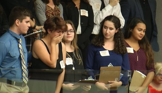 Sheryl Acquarola, a 16-year-old junior from Marjory Stoneman Douglas High School, is overcome with emotion in the East Gallery of the Florida House of Representatives. (Troy Kinsey)