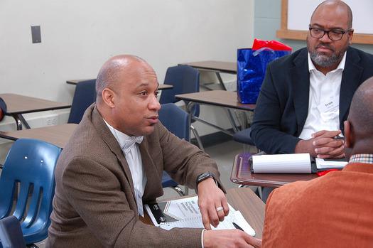 Members of the Virginia Education Association's Underrepresented Male Educators Symposium discuss recruitment strategies. (Virginia Education Association)