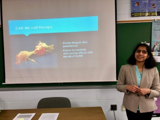 Chy Murali from Centennial High School in Ellicott City presents her research for the Regeneron Science Talent Search. (Chy Murali)