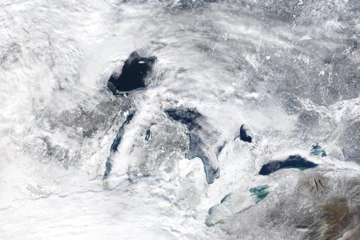 The Great Lakes provide drinking water for 48 million people and are estimated to generate 1.5 million jobs. (NASA)