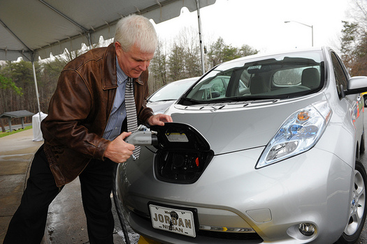 Charging stations like this one in Durham make it easier for drivers to keep on rolling in their electric vehicles. (NCDOTcommunications/Flickr)