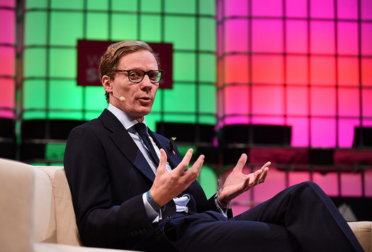 Alexander Nix, CEO of Cambridge Analytica, speaks at the Web Summit 2017 at Altice Arena in Lisbon, Portugal. The company has been banned from Facebook. (Sam Barnes/Web Summit/flickr)