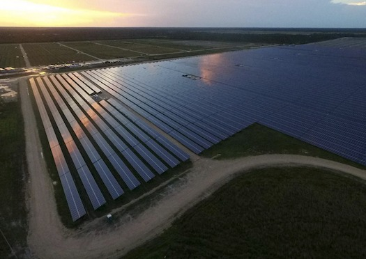 An aerial view of the solar farm during construction of Babcock Ranch, Fla. (Babcock Ranch)