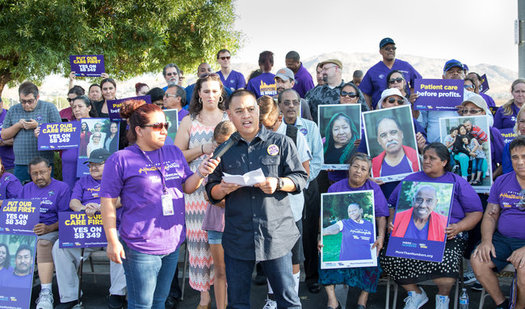 Supporters of the ballot initiative previously campaigned for a bill to establish minimum staffing levels at dialysis clinics. (SEIU-UHW)