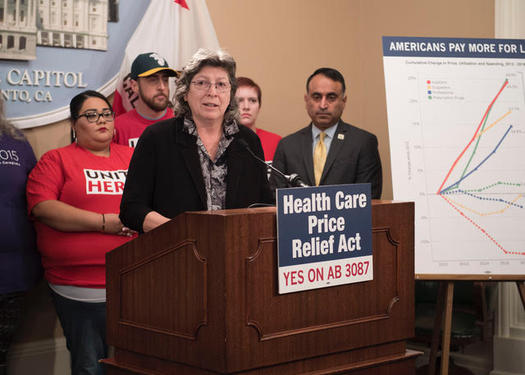 Roxane Sanchez, president of SEIU California, spoke at a news conference Monday in support of AB 3087. (California Assembly)