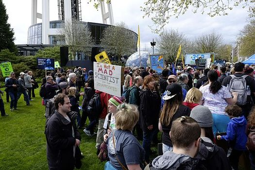 More than 25,000 people showed up to support the Seattle March for Science last year. (Dennis Bratland/Wikimedia Commons)