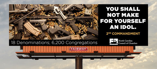 The billboard placed on I-85/I-40 near Mebane will be up for a month, and its sponsors say it has already been the subject of intense attention. (NC Council of Churches)