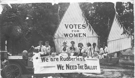 Wisconsin women were politically active long before they got the right to vote. Here, the Oshkosh Equal Suffrage League sends a message in 1912 with its July 4 parade float. (Used with permission of Wisconsin Historical Society)