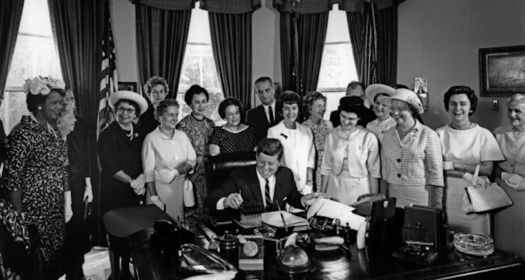 When President John F. Kennedy signed the Equal Pay Act, women earned just 59 cents to every dollar paid to men. (Abbie Rowe/Public Domain)