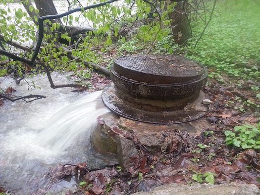 Raw sewage mixed with stormwater surges out of a damaged sewer manhole next to Herring Run. (Blue Water Baltimore)
