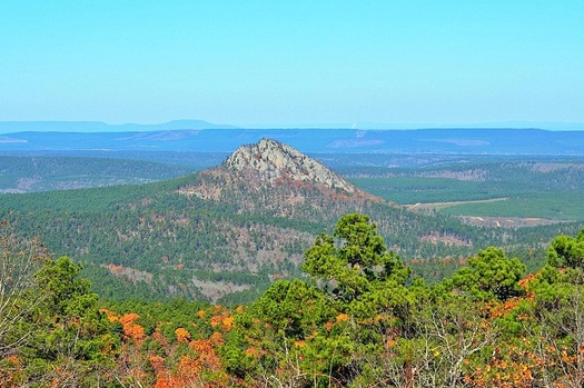 Forked Mountain is a prominent feature of the Flatside Wilderness area in central Arkansas. (Wikimedia Commons)