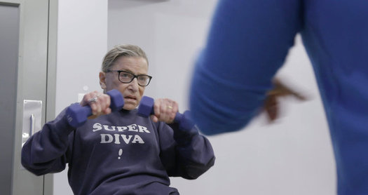 "In ""RBG,"" the Justice's faithful workout routine is featured, showing her ability as an 85-year-old to ""plank"" and do pushups. (""RBG"" movie)"