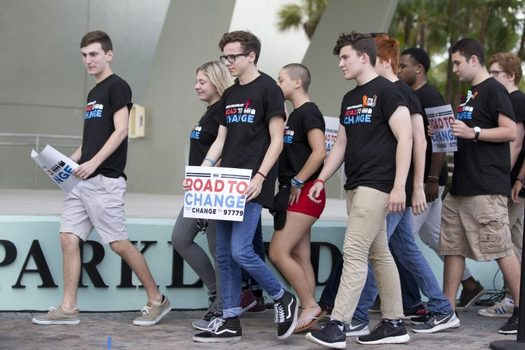 "Gun control student activists on the Road to Change"" bus tour are trying to reach the 4 million American youths who will be eligible to vote this year. (wwhy.org)"
