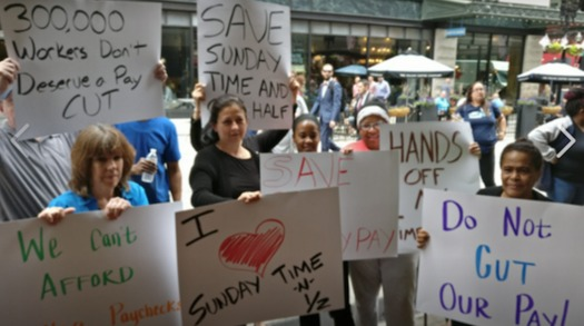 Despite rallies and demonstrations, Massachusetts workers are slated to lose time-and-a-half pay once their contracts expire under a new state law. (UFCW)