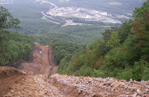 The steep hillsides of Appalachia present serious challenges for building big gas pipelines. (Dominion Pipeline Monitoring Coalition)