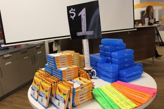 At last year's supply drive, students were given fake money to buy school supplies. (Inspirus Credit Union)